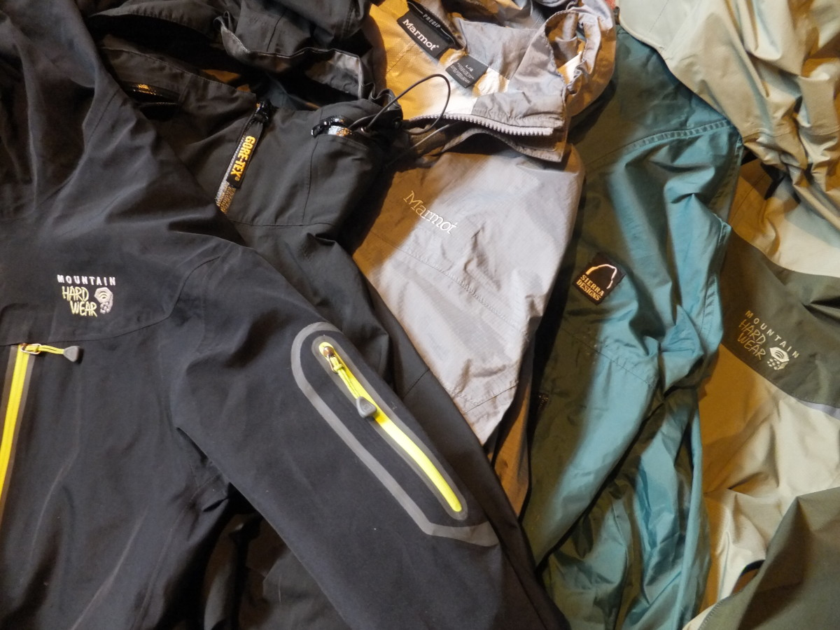Technical shells from Mountain Hardware, Marmot, and Sierra Designs.