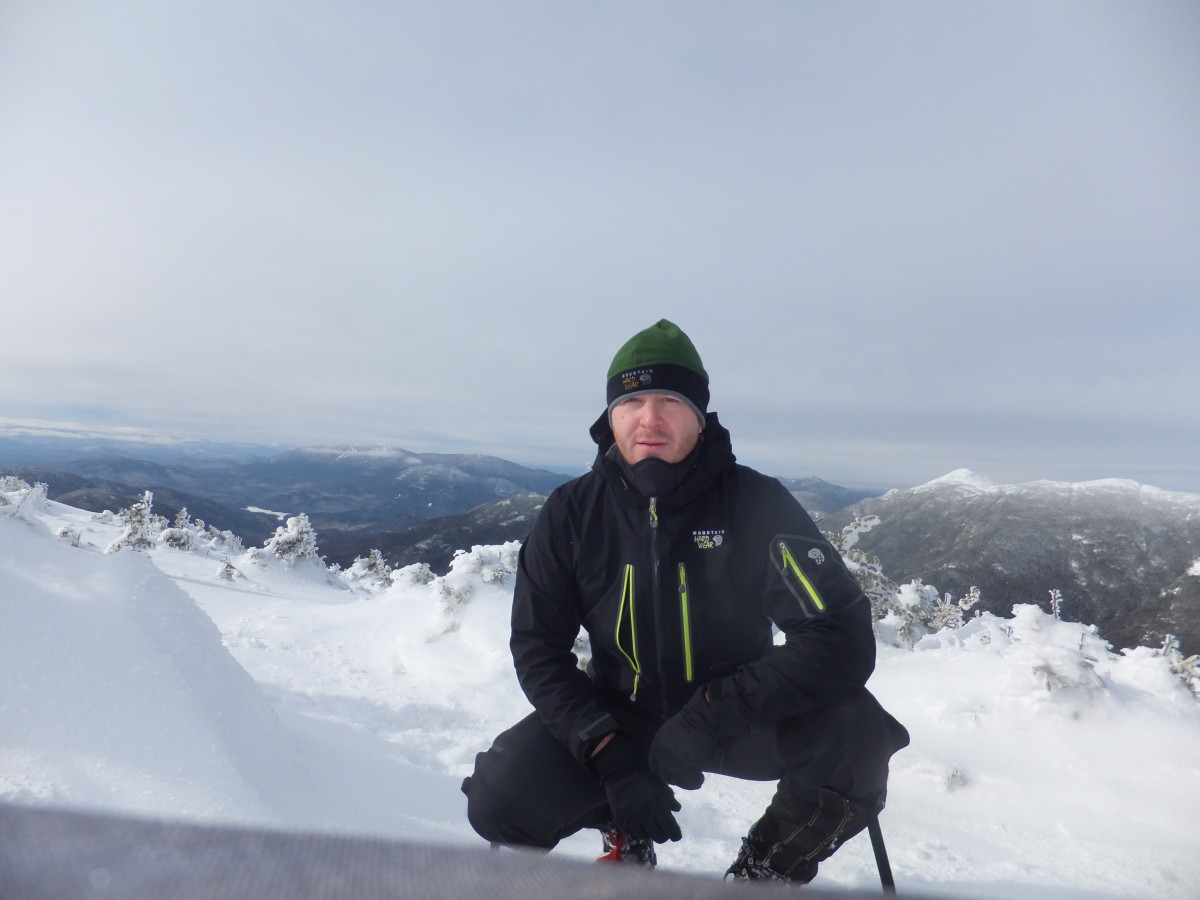 Testing the Victorio jacket on Mt Colden in the Adirondacks.