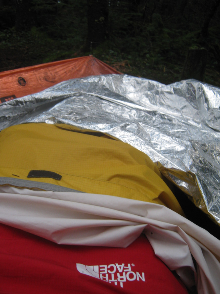 I took this picture of my bivy rig while taking it down the next morning.  Yep - no tent.