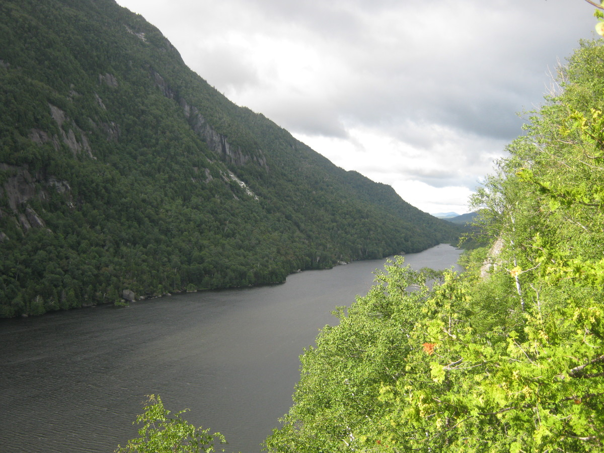 Looking at Lower Ausable Lake from the Sawteeth Scenic Trail.