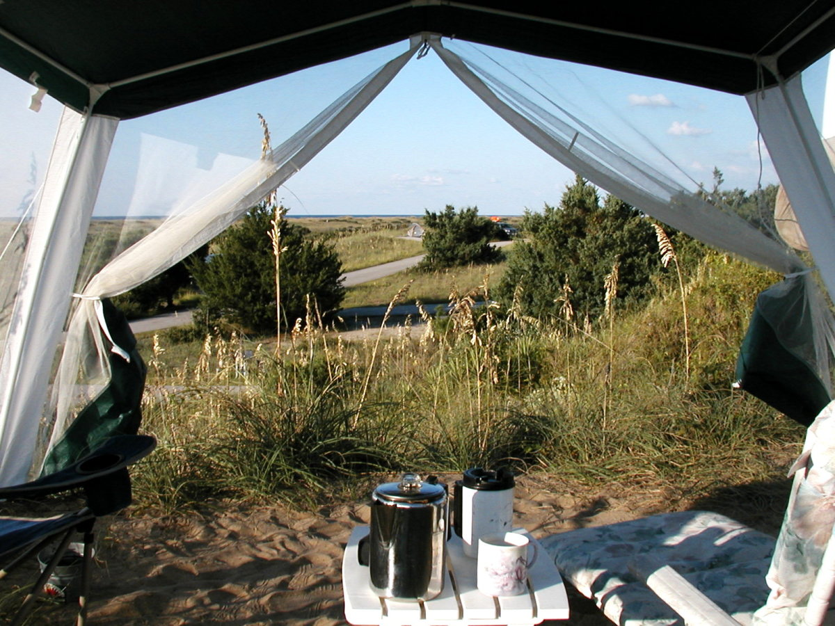 Setting up your outdoor seating and picnic area withing a screen tent will give some protection against mosquitoes in heavily infested areas.