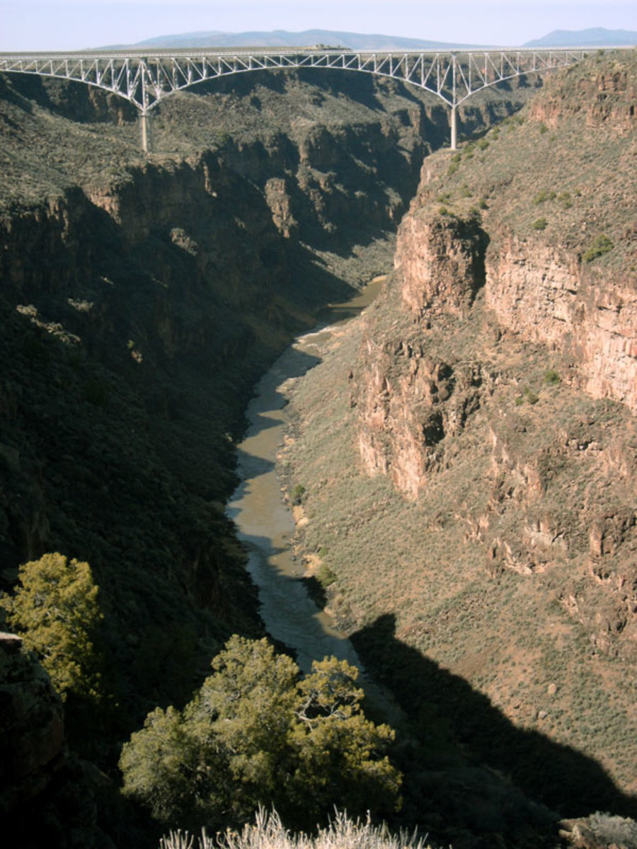 The Rio Grande Gorge Bridge crosses 800 feet above the river