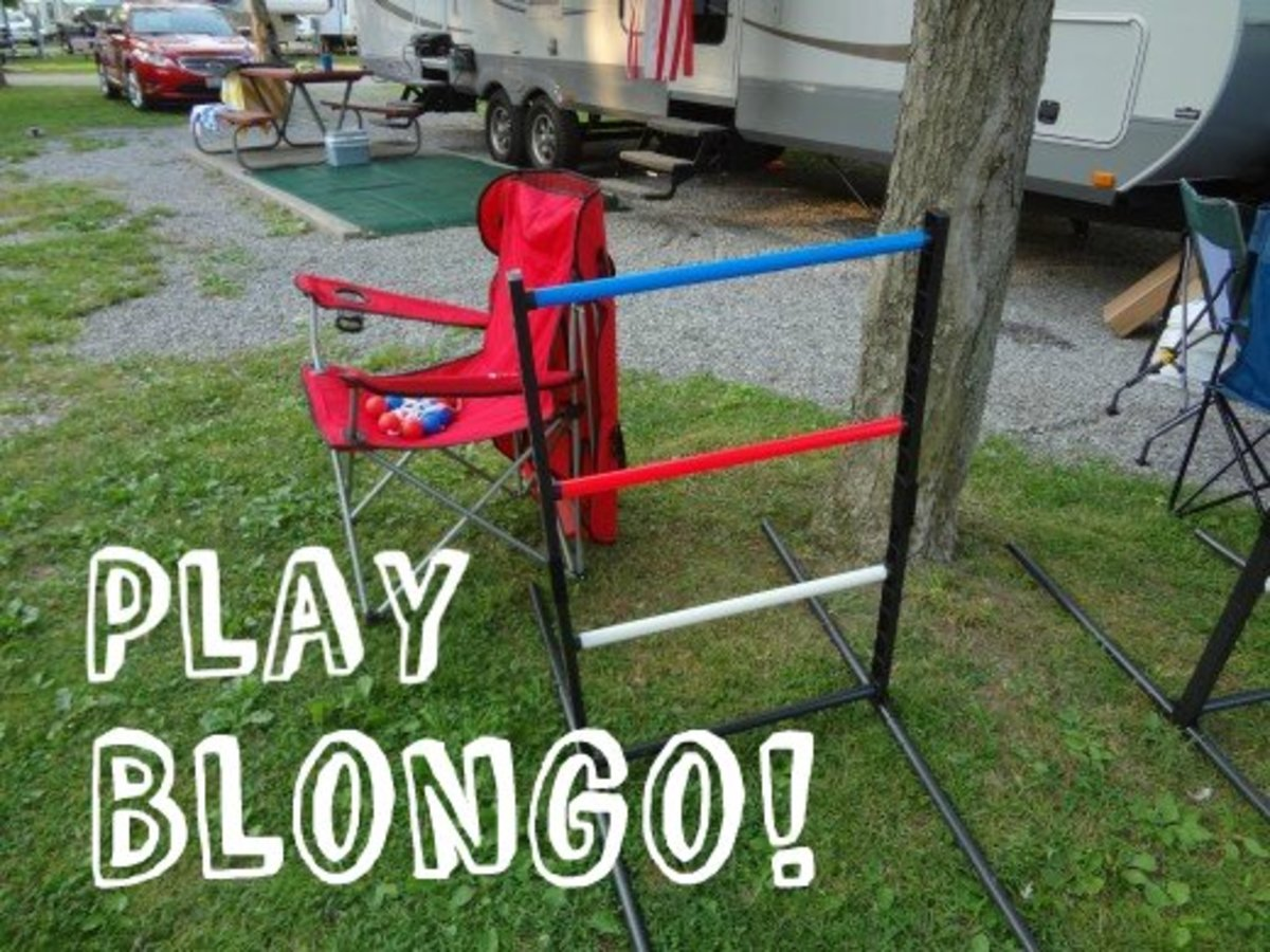 Blongo: Two balls attached by a cord are tossed at the goal. Scoring is based on where the balls land.