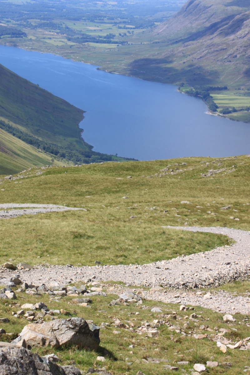 The path weaving its way down to Wast Water and Wasdale. Beware- there's still a fair way to go