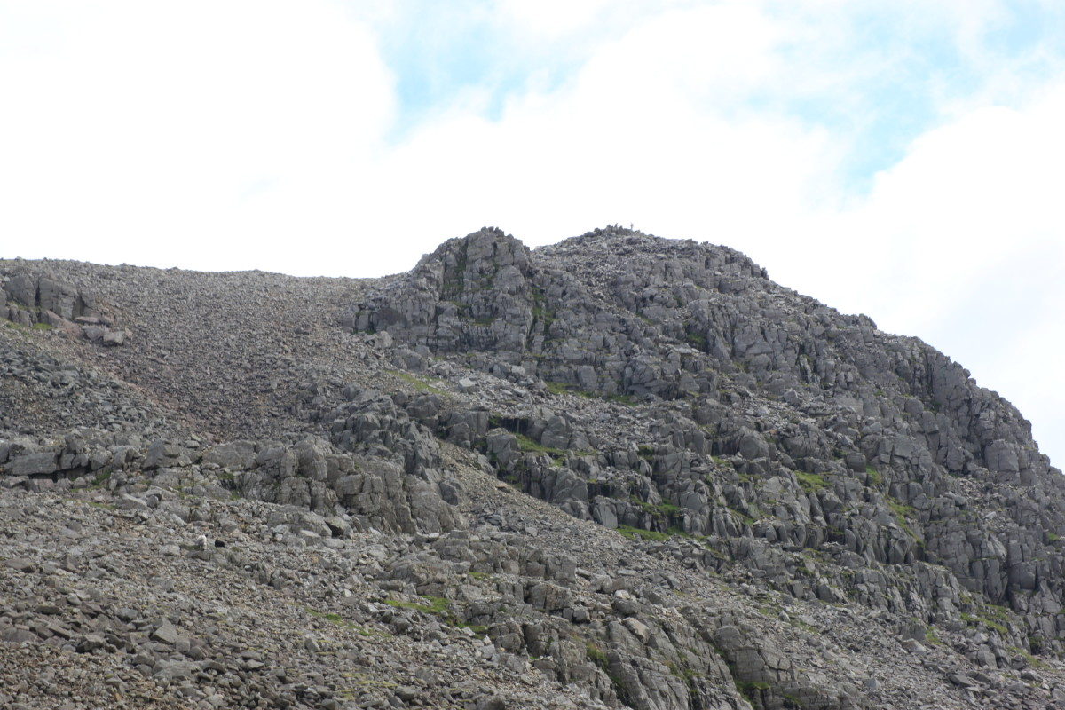 Looking out at Scafell Pike from the Mickledore Mountain Rescue Post