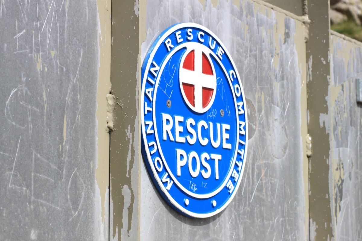 The Mountain Rescue Post off Scafell Pike atop the Mickledore crossroads.
