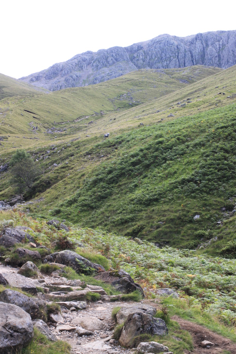Continue to follow the rocky trail