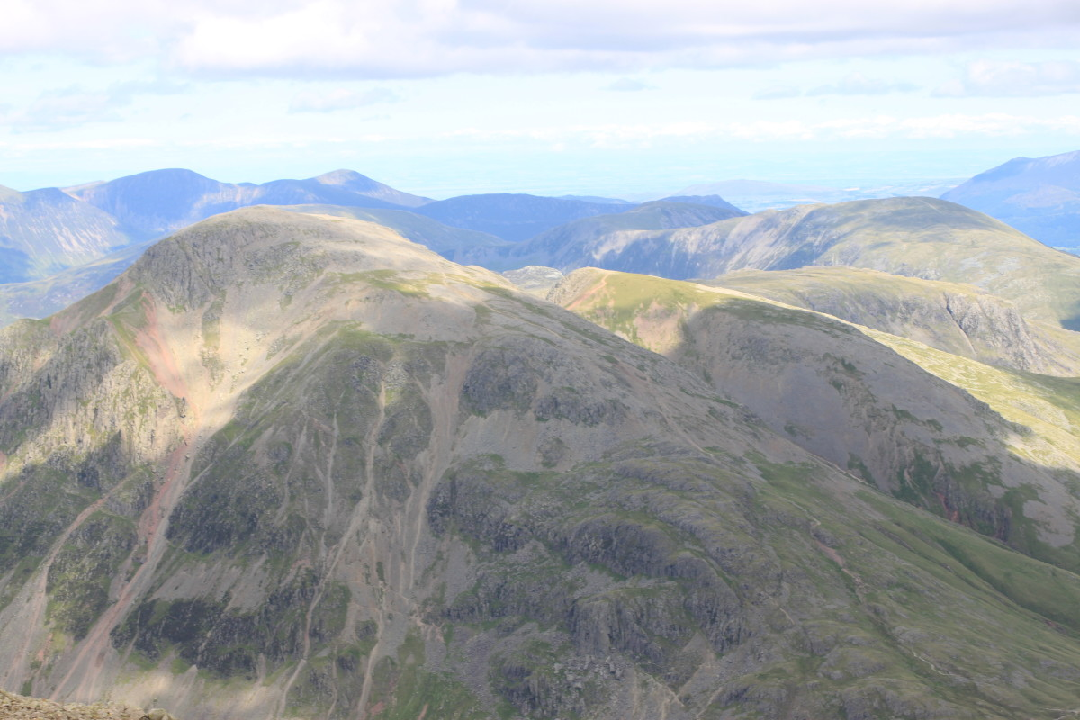 Looking down from the top of Scafell Pike on the view to the North