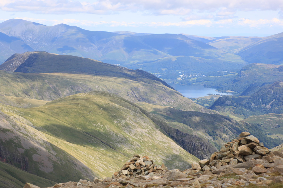 The view out to Ullswater from the top of Scafell Pike