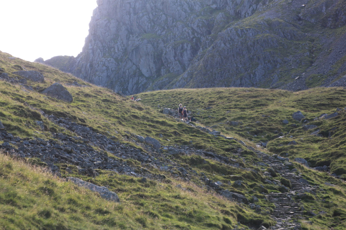 The path goes left, or right. Both routes lead towards Scafell Pike but the right route is a more rewarding challenging scramble to Mickledore