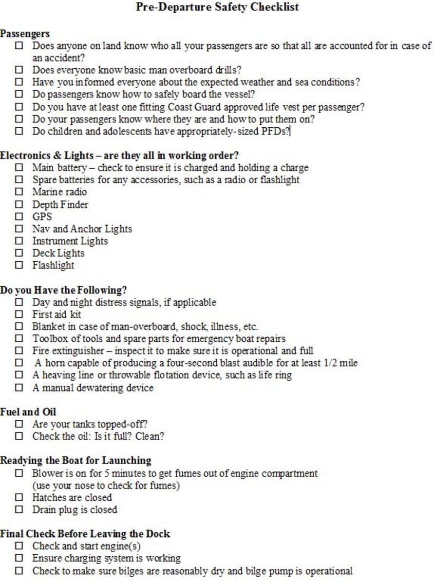 Pre-departure boating safety checklist - feel free to print and use it!