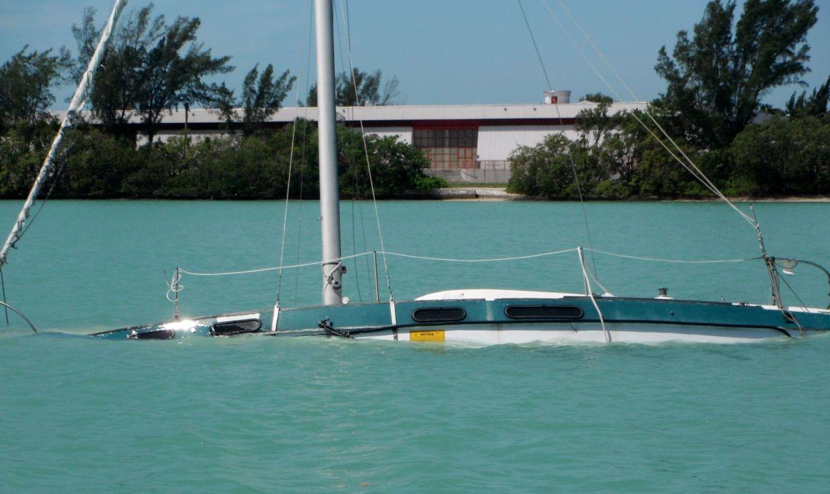 Swamped sailboat