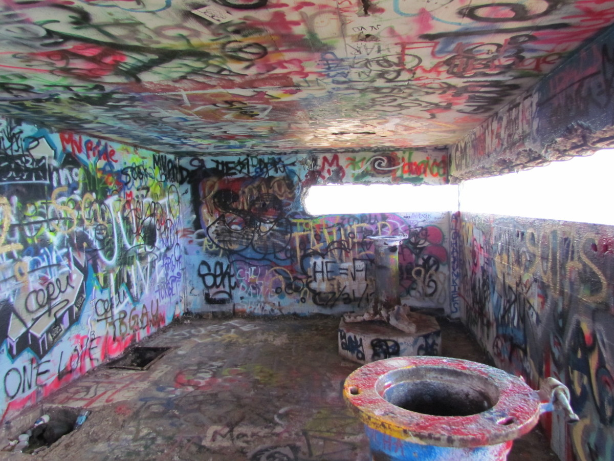 Inside the pillbox is full of graffiti