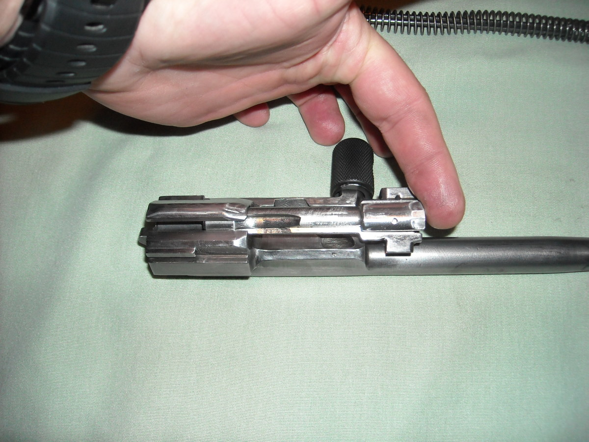 Rotate the locking lug of the bolt into the channel on the bolt carrier, and slide it forward all the way.