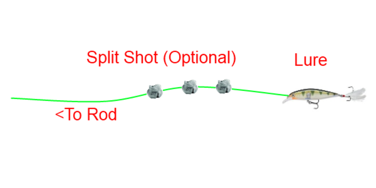 Split shot are optional, either to get more casting distance or to sink the lure deeper. Be aware adding split shot may affect the lures action.