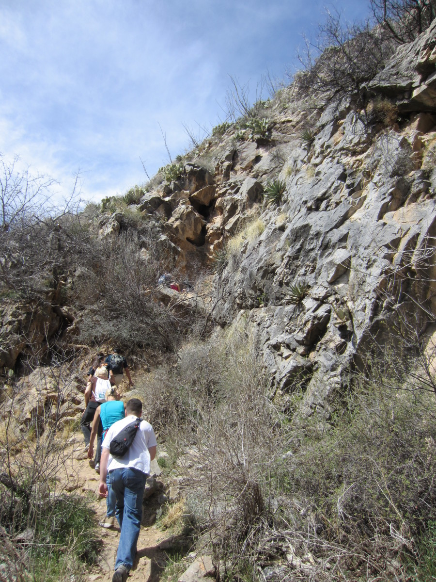 Trail leading to entrance of Peppersauce Cave in Santa Catalina Mountains north of Tucson, AZ