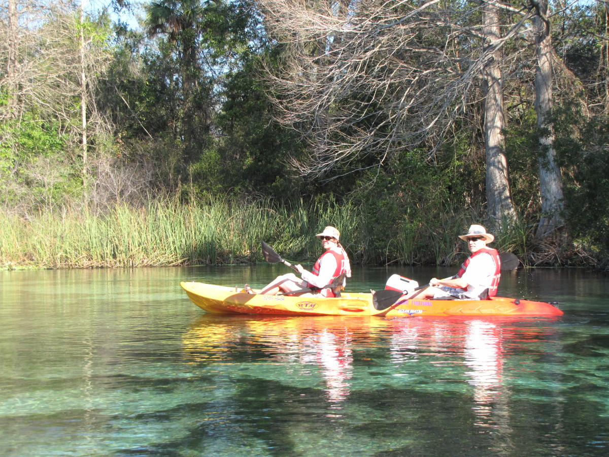 Enjoying the beautiful scenery on the crystal clear Weeki Wachee River