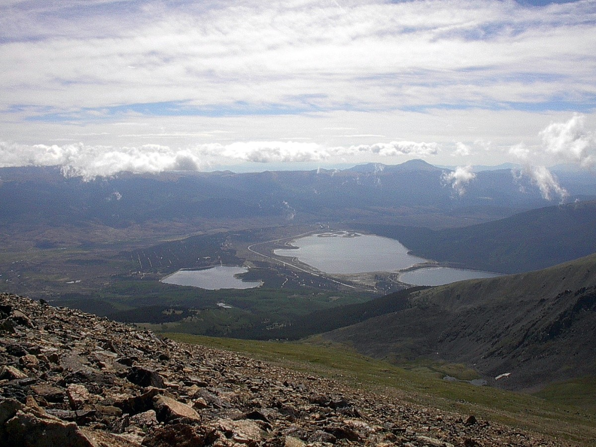 A view of the Twin Lakes from Mt. Elbert