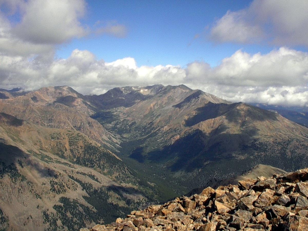 From the summit of Mt. Elbert, 14,440 feet above sea level