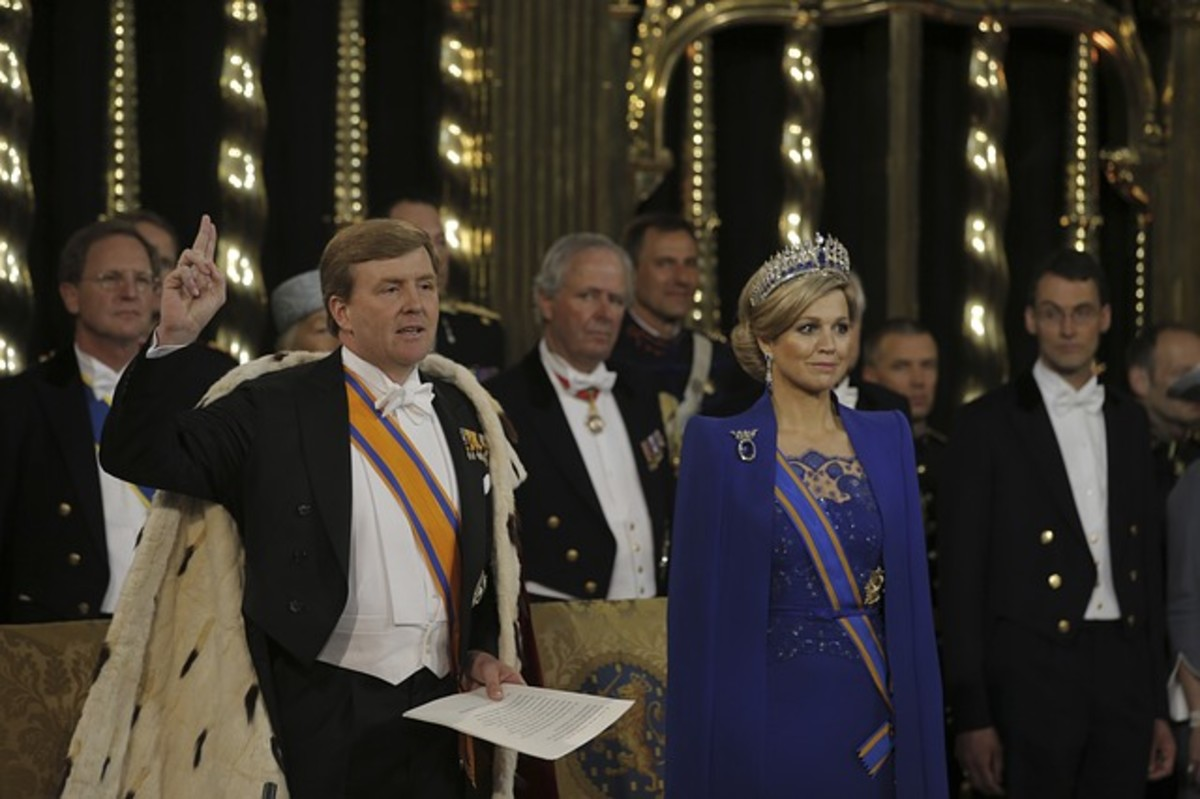 King Willem Alexander and Queen Maxima of The Netherlands.  Most modern monarchs do not have absolute power, rather their power is severely restricted or non-existent, and their role is largely ceremonial.