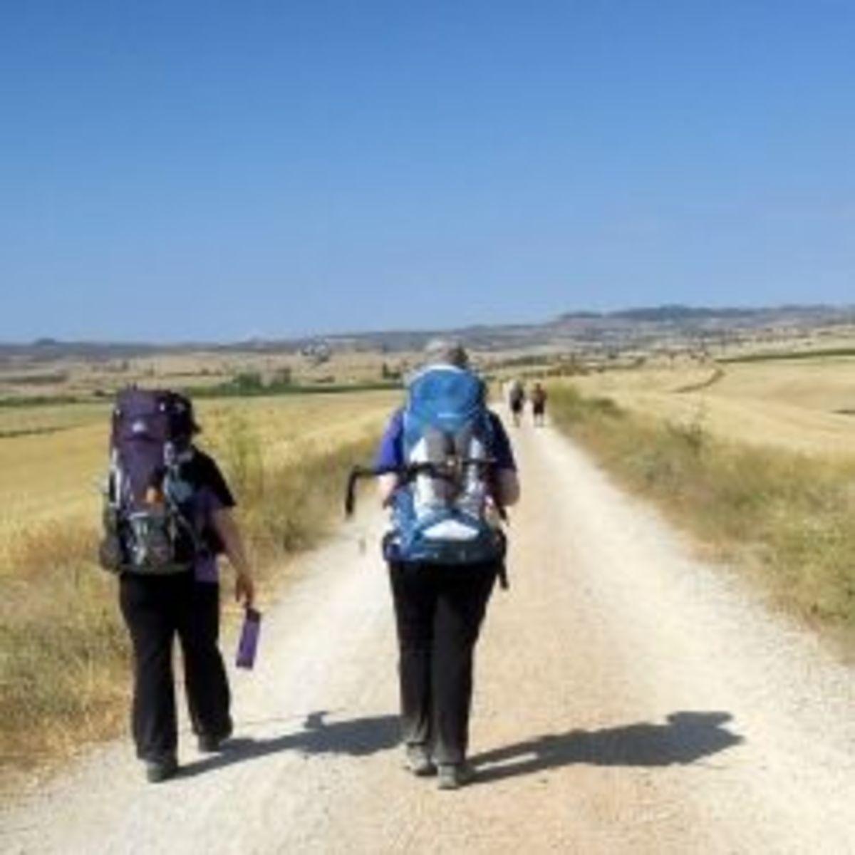 Pilgrims walking the Camino de Santiago