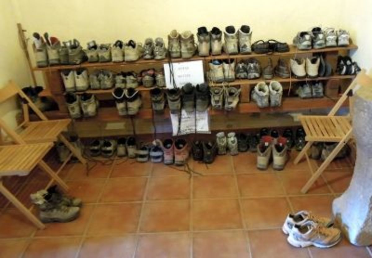 In most places the boots were stored in a different room from where the pilgrims slept. Thankfully...