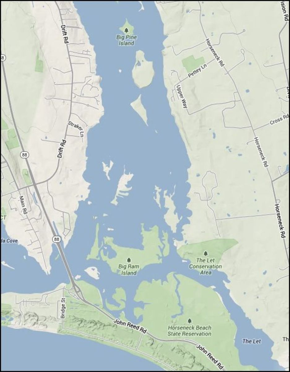 Near the end of the river, you can continue straight  to the Let or continue past Big Ram island and under Rt 88. (Notice Big Pine island near the top as a reference.)  If follow south, just past Big Ram Island you