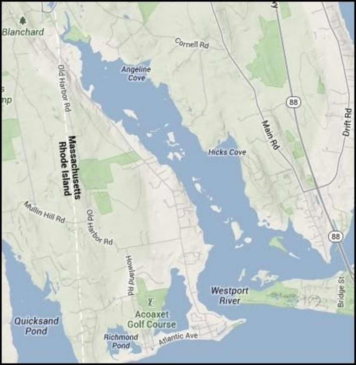The west and east branches converge near Westport Point.