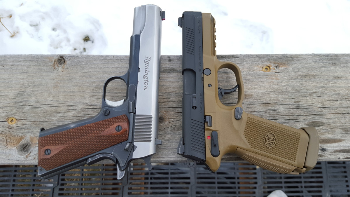 FNX 45 beside my custom Remington R1 1911