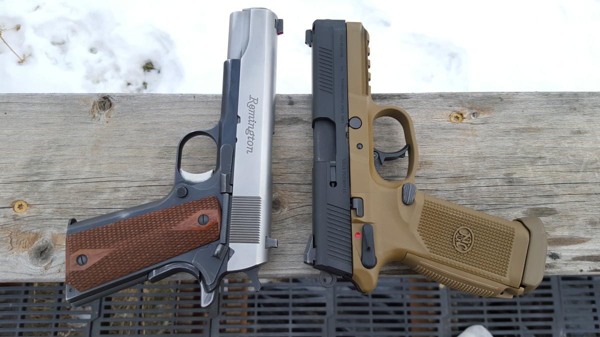FNX 45 beside my custom Remington R1 1911