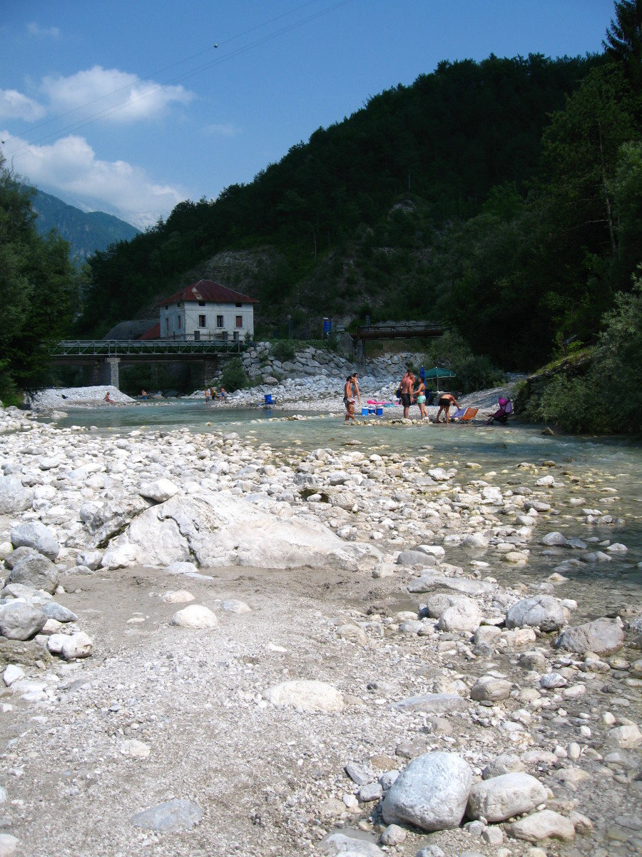 Nearby, on the way to Resia, the Tagliamento river becomes a wonderful cool beach, where you can rest  and chill.