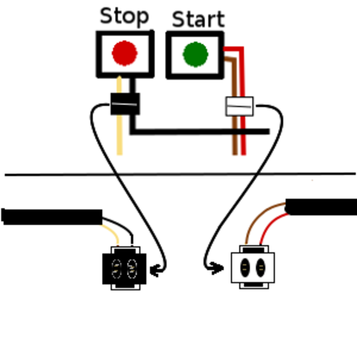 4. The start and stop switch and wires, located on the left side handlebar.