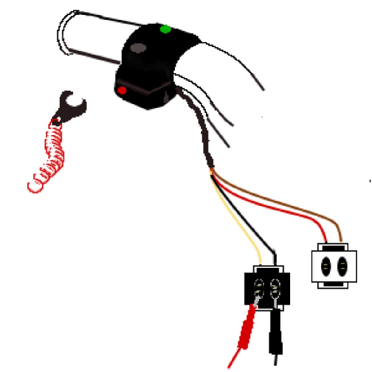 6. Insert the lanyard key. Probe the stop switch.