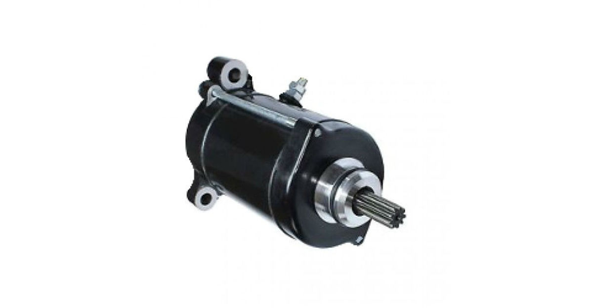 7. Starter motor located at the bottom of the engine. The metal piece sticking out of the top center of the motor is the positive attachment.