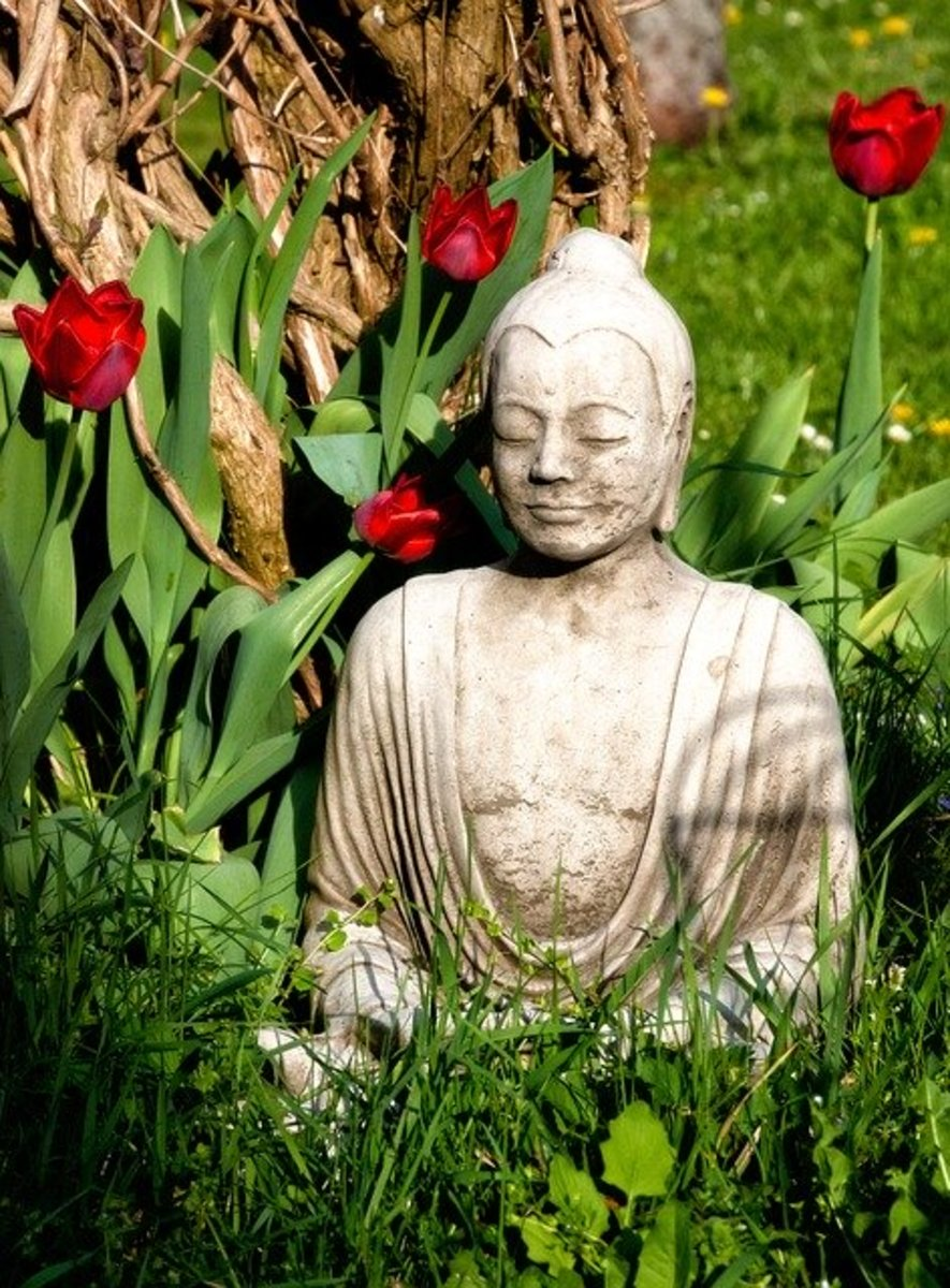 Statue of Buddha.  Buddhists do not usually worship gods, rather they believe that spiritual enlightenment lies within.