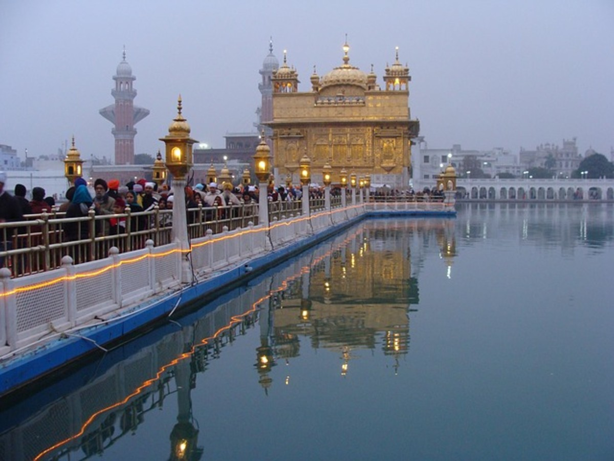 The Golden Temple in India, a sacred place for people of the Sikh religion.  Sikhs believe in a single god, and that the way to live a good life has been revealed through the teachings of a series of gurus.