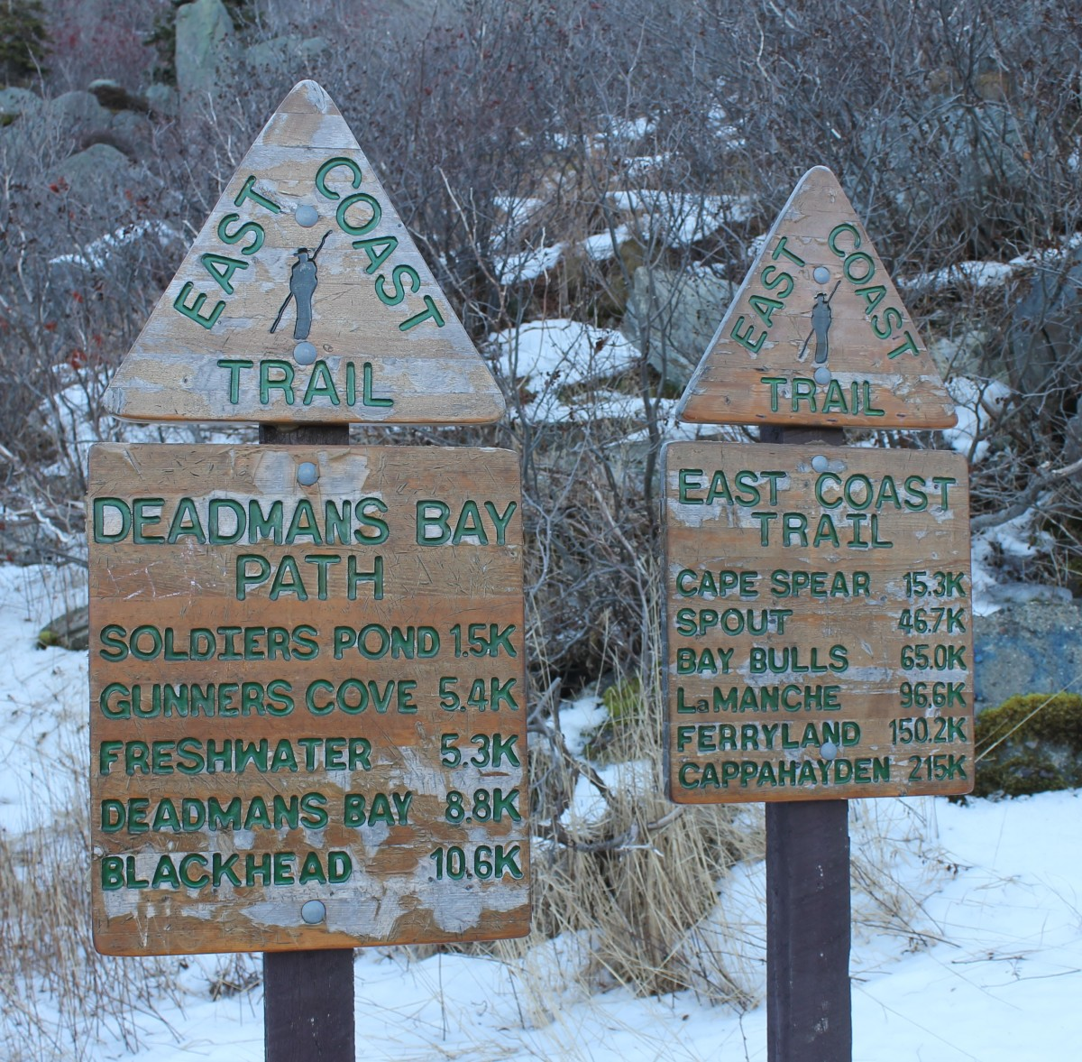 Sign posts at the trail head at Fort Amherst in St. John's.