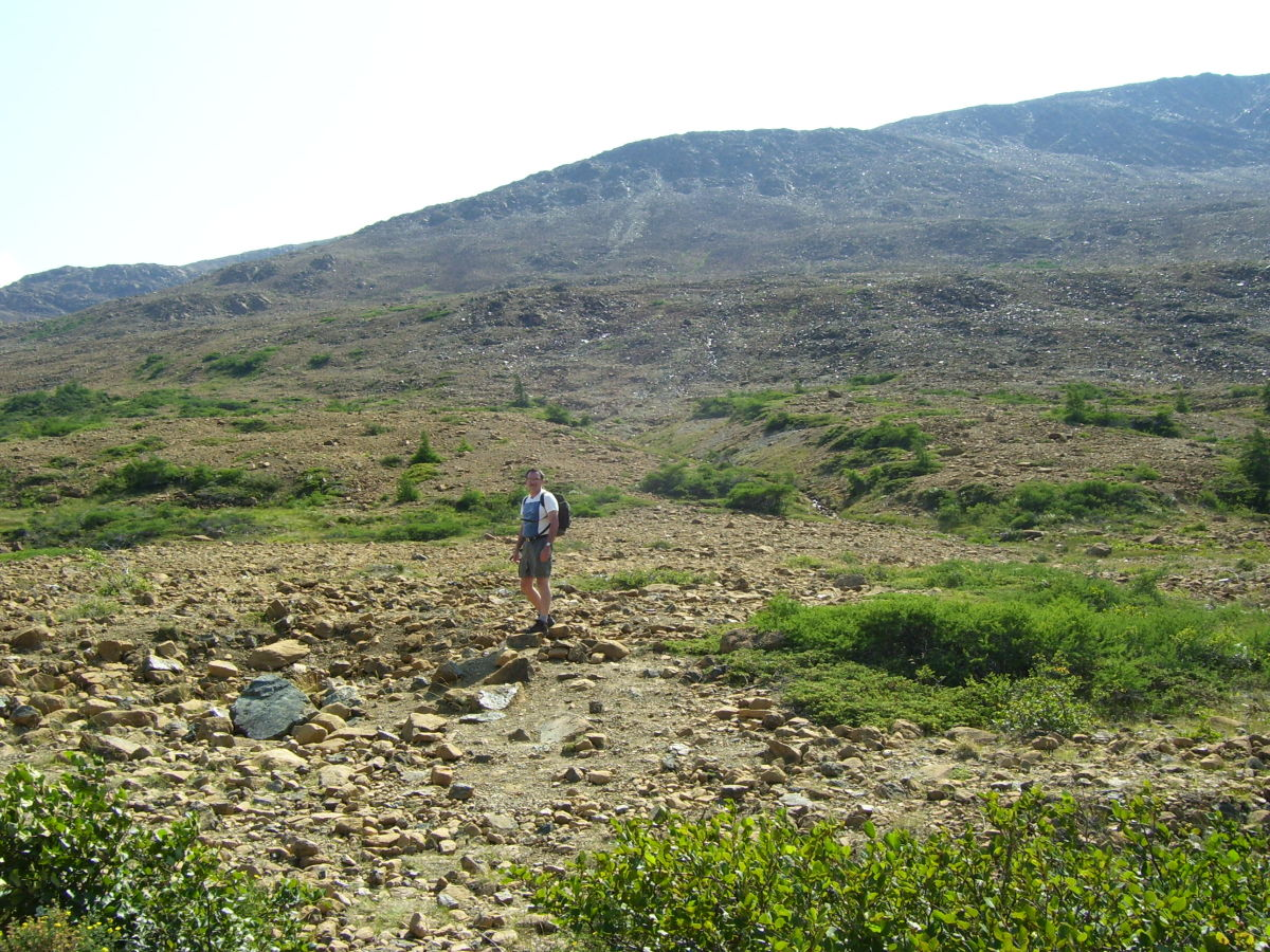 The author hiking the Tablelands, Gros Morne National Park.