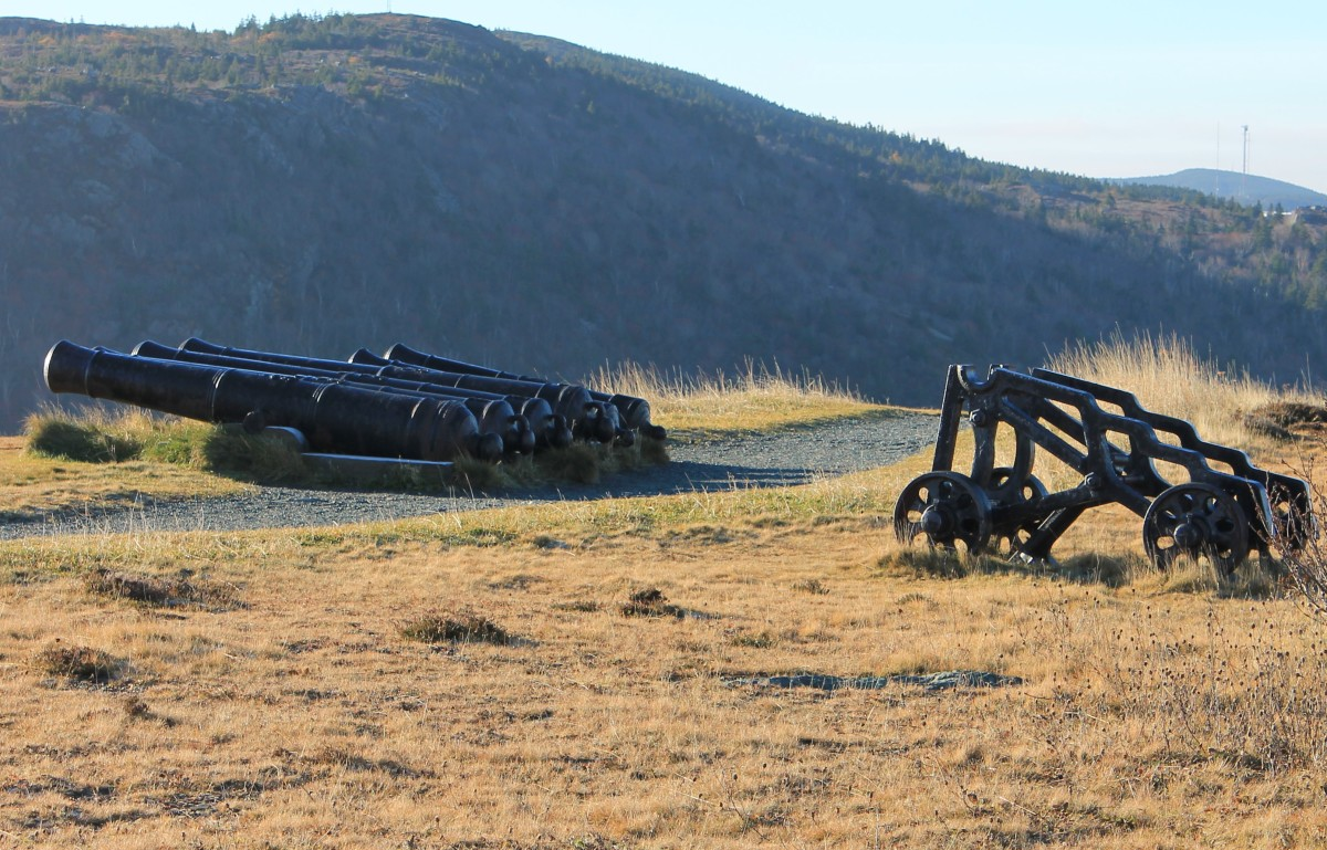 Restored Cannons Along the Queen's Battery Barracks Trail.