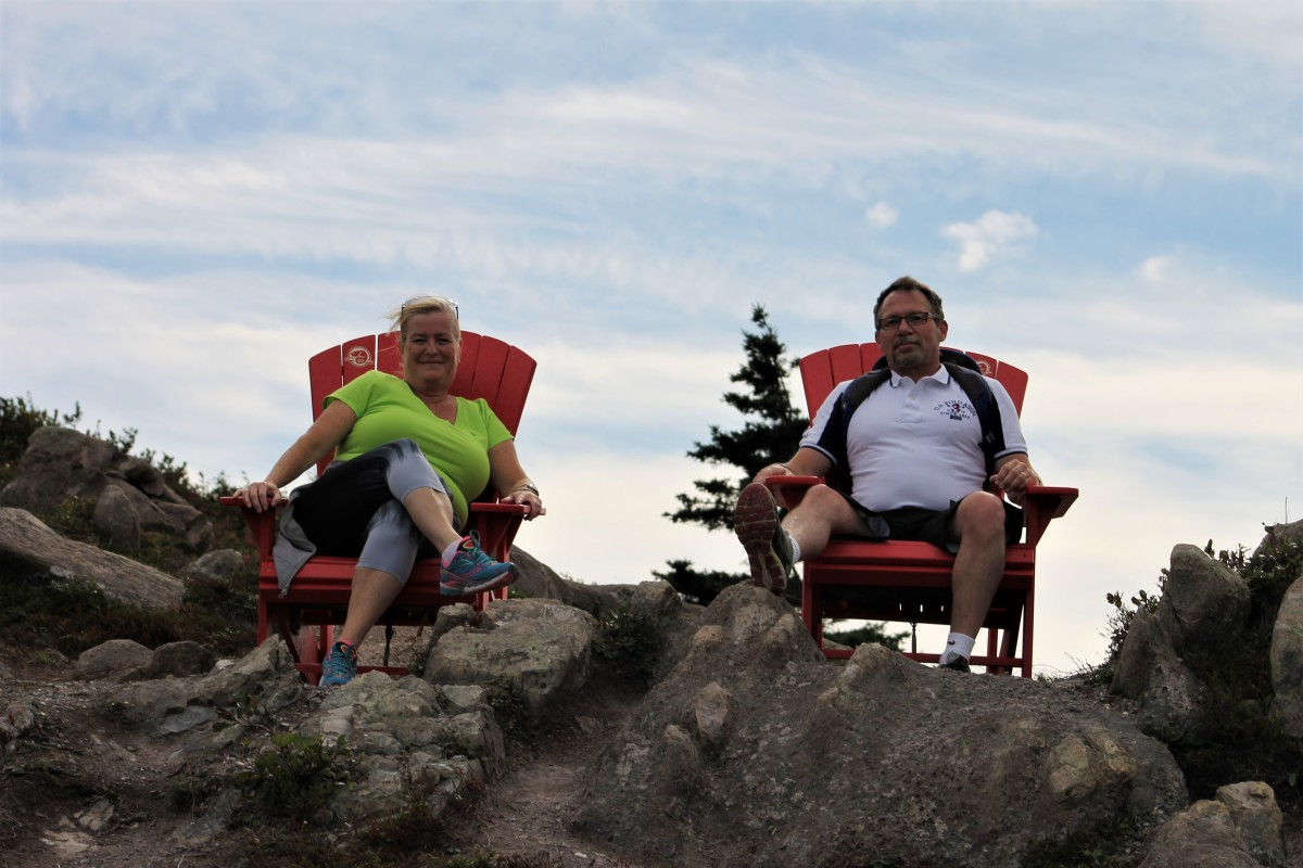 The Author and His Wife Kim Sitting in Adirondack Chairs Along the Ladies Lookout Trail. Parks Canada Has Installed a Number of These Chairs at Various Locations Along the Signal Hill Trail System, All of Which Look Out to Sea.