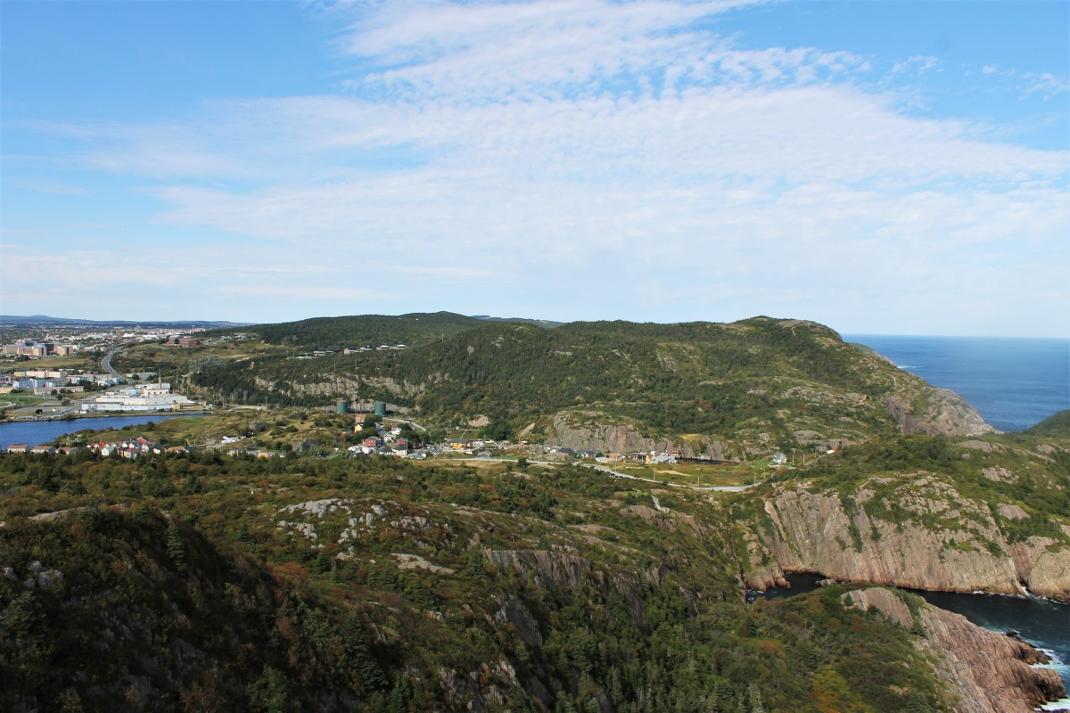 Panoramic View of the East End of St. John's, Quidi Vidi Village, and the Newfoundland Coastline, from the Ladies Lookout Trail.