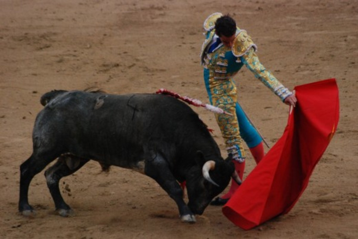 Matador and bull (Source: MarcusObal).  The American author, Ernest Hemingway saw bullfighting as an art form which explored fear and courage, and the battle between life and death.  His non-fiction book, Death in the Afternoon was published in 1932.