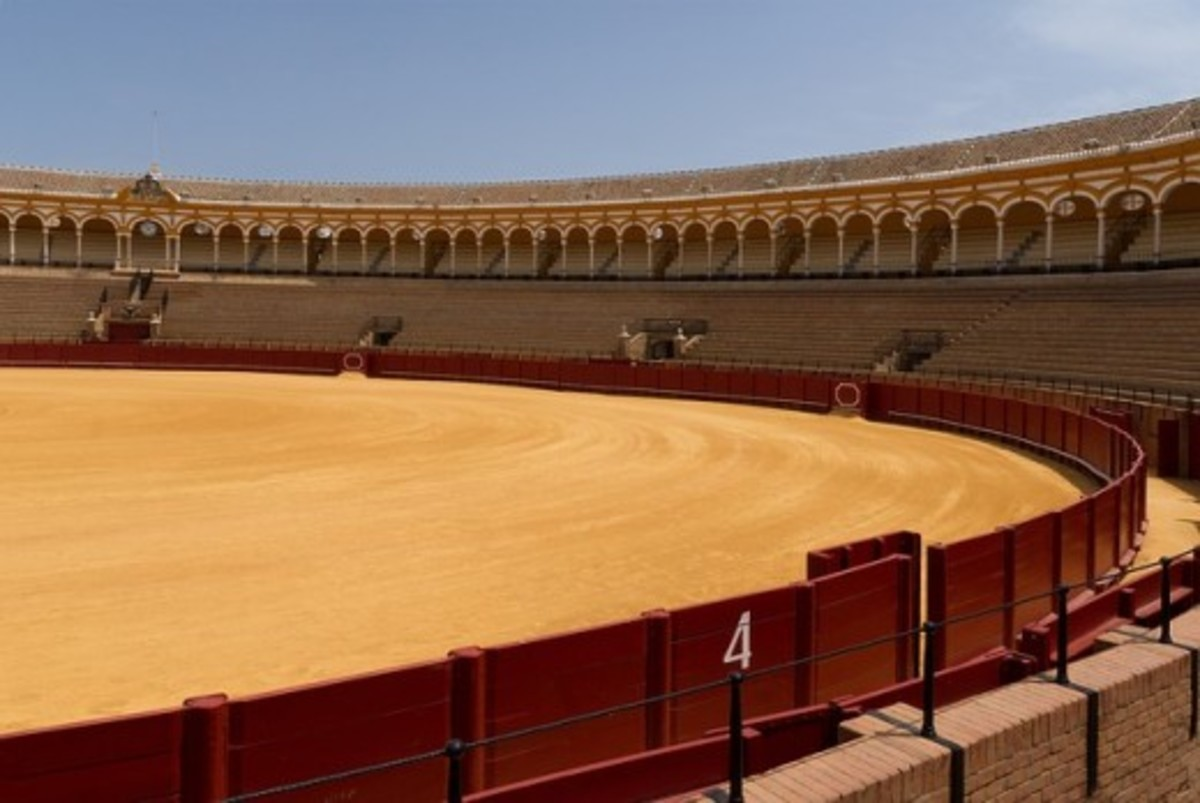 Bullring in Seville, Spain.  Opponents argue that the practice is excessively cruel, as it can take some time for the injured bull to actually die from its injuries.