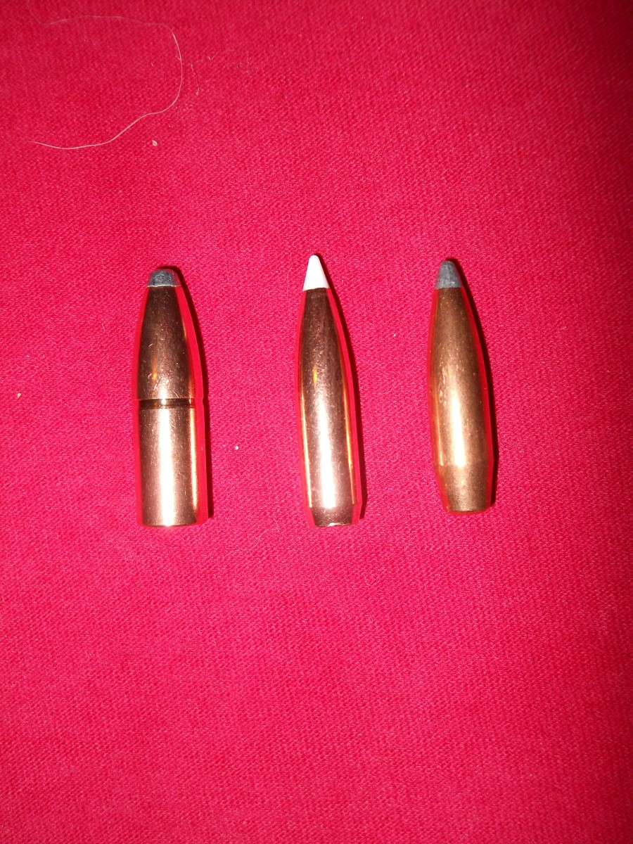 A Soft Point Spitzer Bullet Designed For Average Hunting Ranges (L), Two Premium Boat Tail Long Range Hunting Bullets (C, R)
