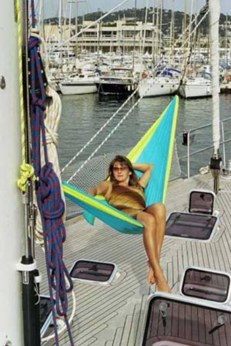 Relaxing in a Hammock on a Yacht
