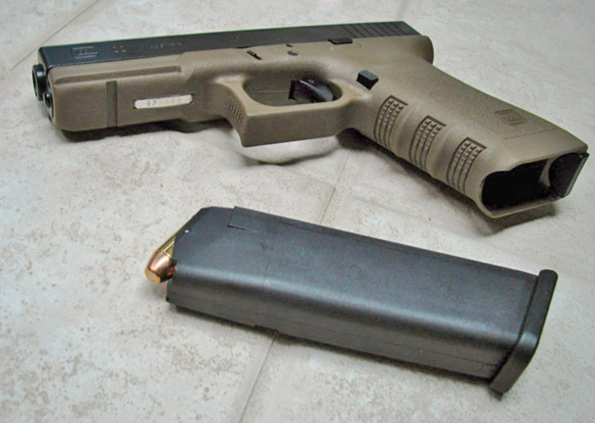 The Glock's Polymer Frame Can Be Molded In Special Colors.  Note the Reinforced Polymer Magazine