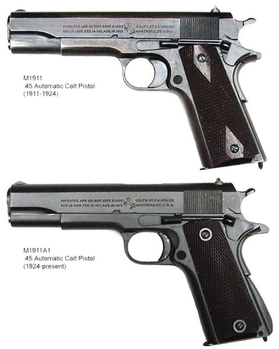 1911 And 1911A1 Compared.  Note Grip Safety On Back Strap And Thumb Safety