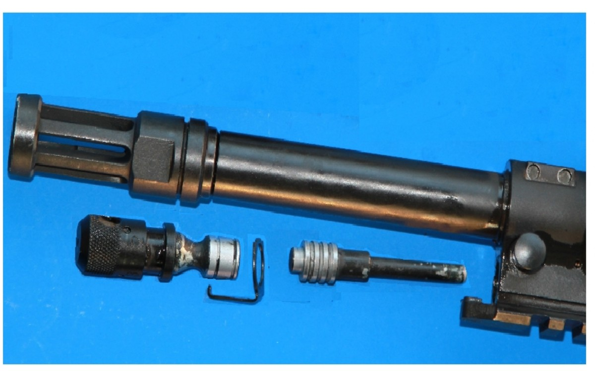 A piston driven AR's gas piston disassembled.   This one is from a Ruger 556.
