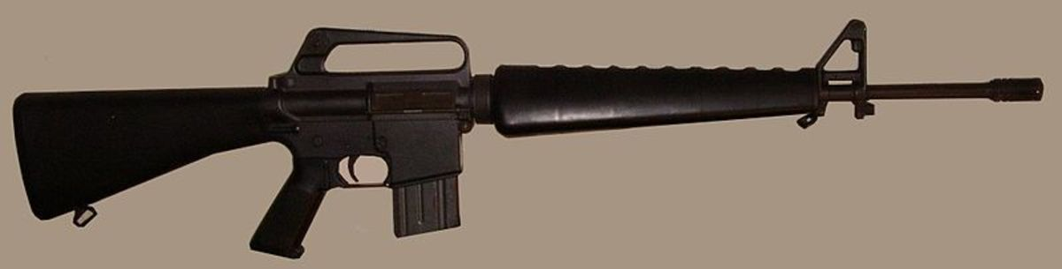 The M-16's carry handle also houses the rear sight and is forged in one piece with the upper receiver.