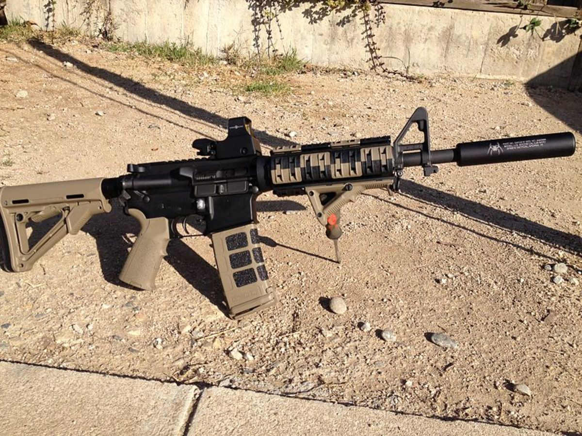 A decked out AR, ready for defense or hunting